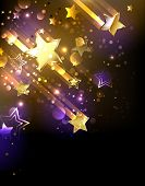 picture of shooting stars  - Abstract background with golden shooting stars and color spots - JPG