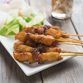 picture of sate  - Chicken sate or satay - JPG