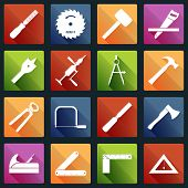 pic of sawing  - Carpentry wood work white icons tools and equipment with pliers axe saw isolated vector illustration - JPG