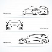 stock photo of outline  - Set of modern car silhouettes - JPG