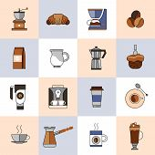 image of frappe  - Coffee icons flat line set with espresso cappuccino frappe isolated vector illustration - JPG