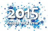 foto of countdown  - Happy 2015 new year with blue snowflakes - JPG