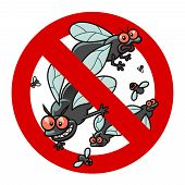 foto of pest control  - Anti pest sign with a funny cartoon blackflies - JPG