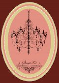 foto of oblong  - Vintage oblong frame with elegant retro design chandelier pink - JPG