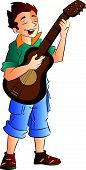 picture of guitarists  - Young Male Singer and Guitarist vector illustration - JPG