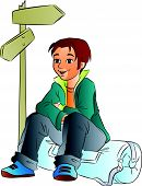 picture of camper  - Young Male Camper sitting down vector illustration - JPG