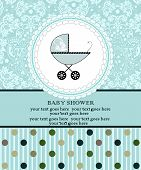 foto of fancy cakes  - Vintage baby shower invitation card with ornate elegant retro abstract floral design blue with baby carriage on cake and polka dots - JPG