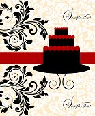 stock photo of fancy cake  - Vintage invitation card with ornate elegant abstract floral design red and black on flesh and white with three - JPG
