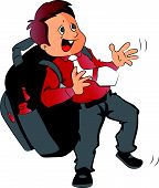image of oversize load  - Vector of schoolboy struggling to carry heavy and oversized schoolbag - JPG