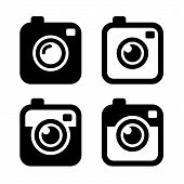 picture of  photo  - Hipster Photo or Camera Icons Set - JPG
