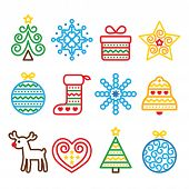 picture of rudolf  - Vector colorful icons set for celebrating Xmas isolated on white - JPG