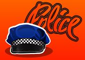 foto of headgear  - Police cop cap hat headgear vector illustration - JPG