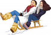 foto of sleigh ride  - Vector illustration of two women enjoying sleigh ride - JPG