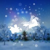 picture of sleigh ride  - Santa Riding Sleigh over blurred night landscape background - JPG