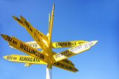 picture of bluff  - Signpost points cities and places around the world at the southern point of New zealand - JPG