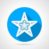 foto of echinoderms  - Flat blue round vector icon with white silhouette starfish on gray background - JPG