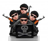 stock photo of terrorist  - Group of terrorists with laptop and weapons - JPG