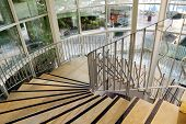 pic of spiral staircase  - Spiral staircase in the big modern hotel - JPG