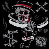 foto of skull cross bones  - Skull, Skeleton Hand, Bones and Ribbons in Old School Tattoo style elements design vector.