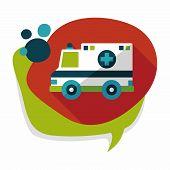 picture of ambulance  - Transportation Ambulance Flat Icon With Long Shadow - JPG