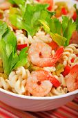 image of celery  - Italian salad made of fusilli shrimp celery decorated with celery leaves - JPG