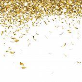 stock photo of confetti  - festive glittering gold confetti falling on a white background - JPG