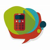 pic of handphone  - Mobile Phone Flat Icon With Long Shadow - JPG