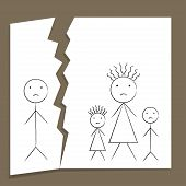 image of breakup  - Concept of family breakup in divorce and unhappiness in child style drawing - JPG