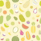 image of pamelo  - Tropical fruits seamless pattern - JPG