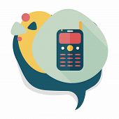 picture of handphone  - Mobile Phone Flat Icon With Long Shadow - JPG