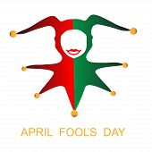 pic of harlequin  - April fools day card with funny harlequin - JPG
