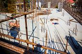 stock photo of scaffold  - View from above on construction site with rod and scaffold - JPG