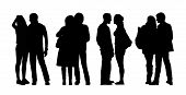 stock photo of ordinary woman  - silhouettes of ordinary adult couples standing outdoor in different postures talking looking - JPG