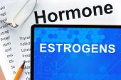 picture of hormones  - Papers with hormones list and tablet  with words  estrogens   - JPG