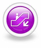 image of escalator  - Icon Button Pictogram with Escalator Down symbol - JPG