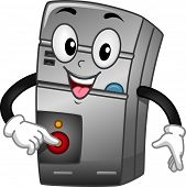 stock photo of cpu  - Mascot Illustration of a CPU Turning Itself On - JPG