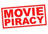 stock photo of plagiarism  - MOVIE PIRACY red Rubber Stamp over a white background - JPG