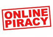 pic of plagiarism  - ONLINE PIRACY red Rubber Stamp over a white background - JPG