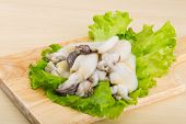 foto of cuttlefish  - Raw cuttlefish with herbs on the wood background - JPG