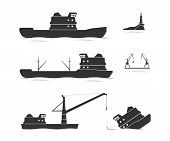 stock photo of crippled  - Silhouettes of cargo ships and floating crane - JPG