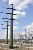 stock photo of voltage  - Mast, high voltage transformer station energy industry