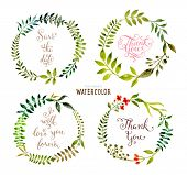 pic of tree leaves  - Floral Set with Watercolor Flowers for Summer or Spring Cards - JPG