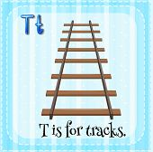 picture of letter t  - Flashcard letter T is for tracks - JPG