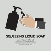 picture of liquids  - Squeezing Liquid Soap With Hand Vector Illustration - JPG