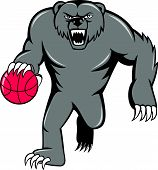 stock photo of growl  - Illustration of a grizzly bear angry growling dribbling basketball viewed from front set on isolated white background done in cartoon style - JPG