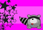 image of raccoon  - little raccoon cartoon background in vector format very easy to edit - JPG