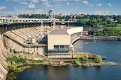 image of hydroelectric  - view from a hydroelectric dam to the turbine unit - JPG