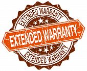 stock photo of extend  - extended warranty orange round grunge stamp on white - JPG