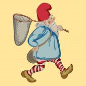 stock photo of gnome  - Cartoon gnome with hoop net on white background - JPG