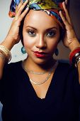 image of racy  - beauty bright african woman with creative make up - JPG